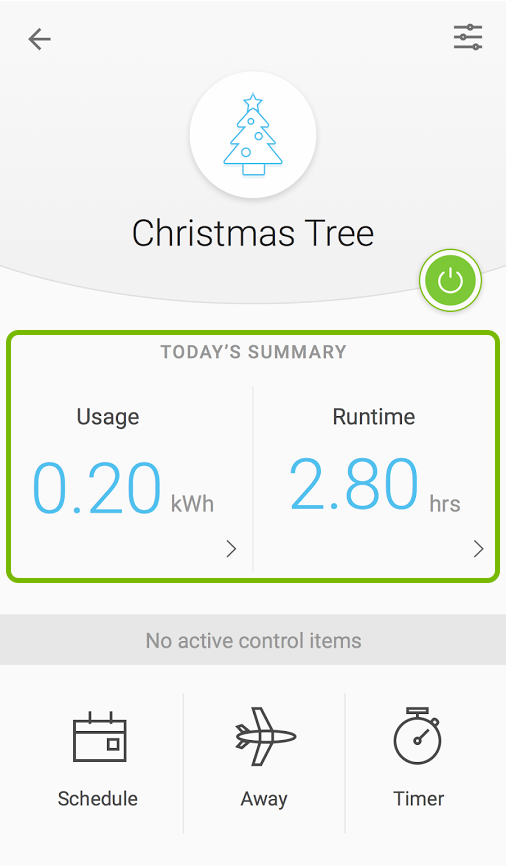 Runtime and Energy usage info highlighted for selected device in Kasa app.