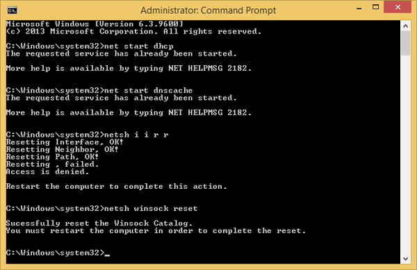 Commands entered into Command Prompt.