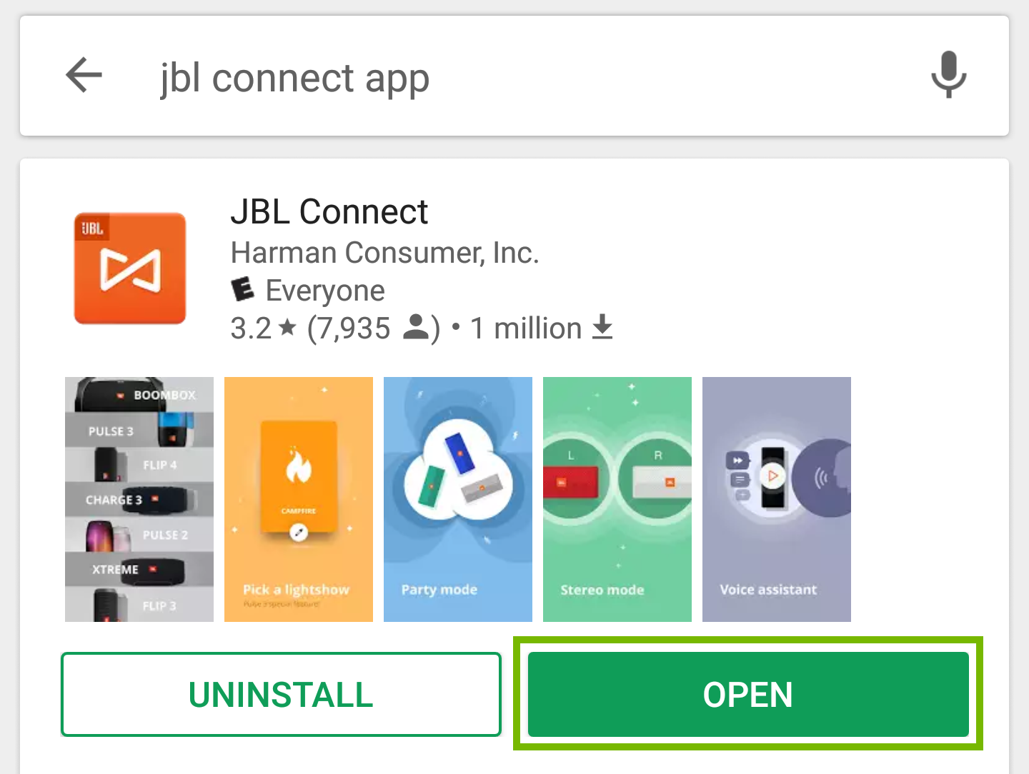 Play Store search results with Open button highlighted