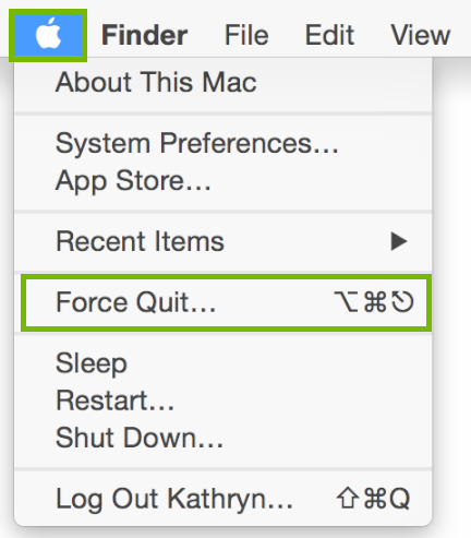 Apple menu with Force quit highlighted