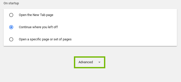 Screenshot of the bottom of settings with advanced highlighted
