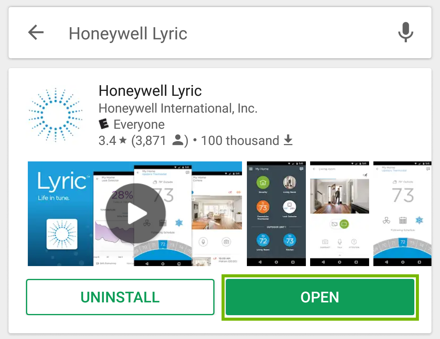 Picture indicating to press the open button for the Honeywell Lyric app