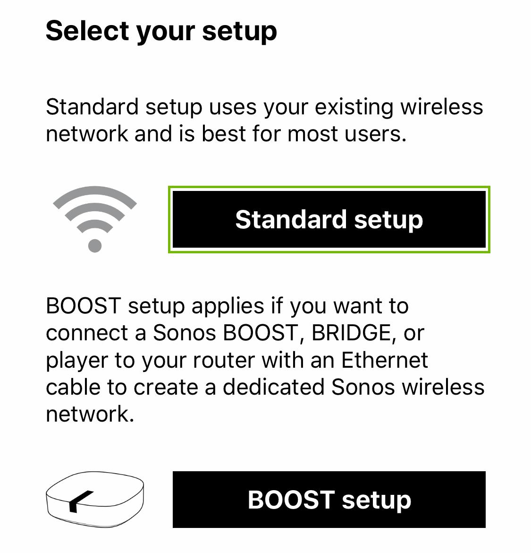 Setup type with standard setup highlighted