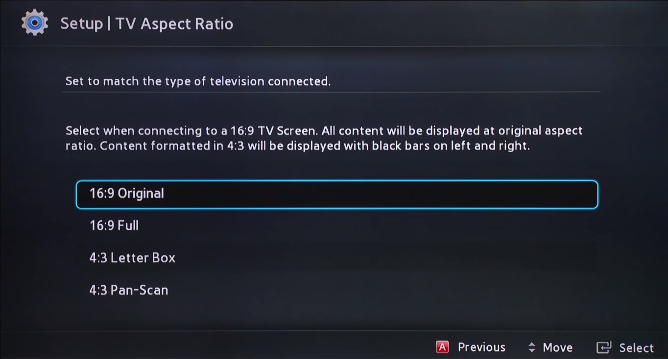 TV aspet ration selection screen in initial setup
