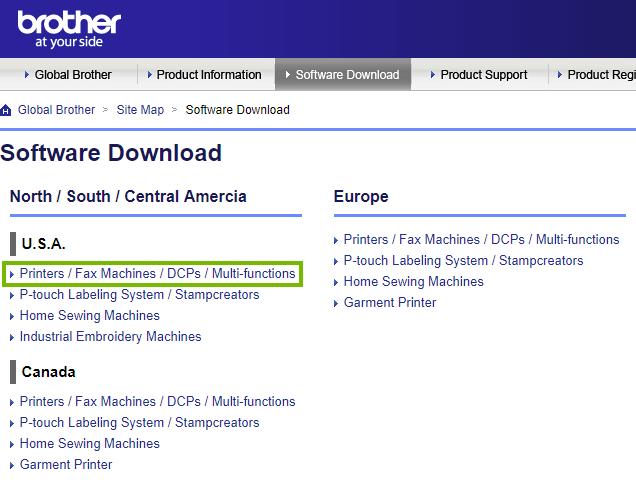 Brother website highlighting the printers link under the USA header. Screenshot.