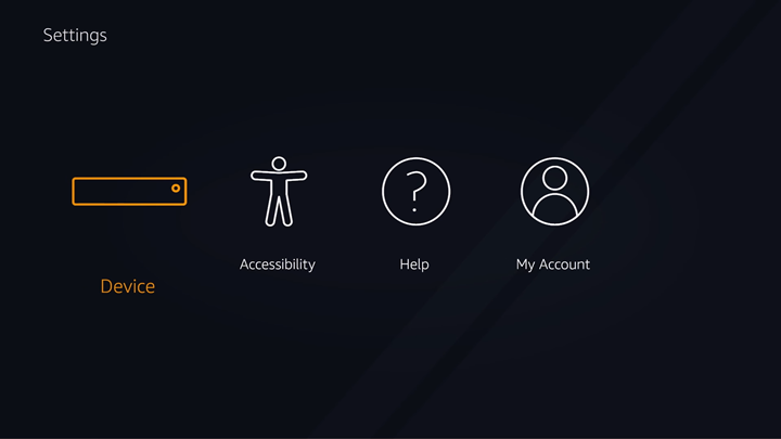 FireTV settings screen with Device option highlighted.