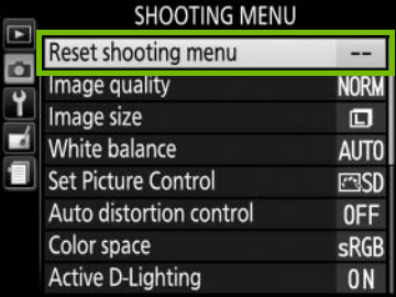 shooting menu with reset shooting menu highlighted
