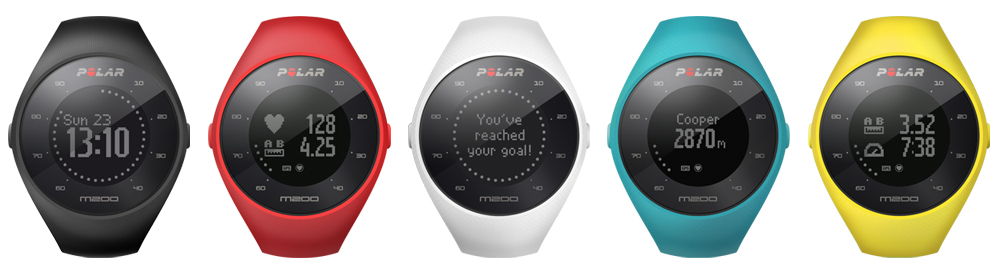 Multiple Polar M200 devices in various colors.