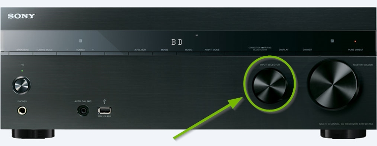 AV receiver highlighting an knob style input selector.