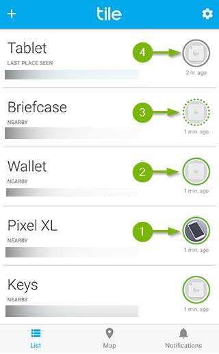 Device status indicator on Tile app main screen.