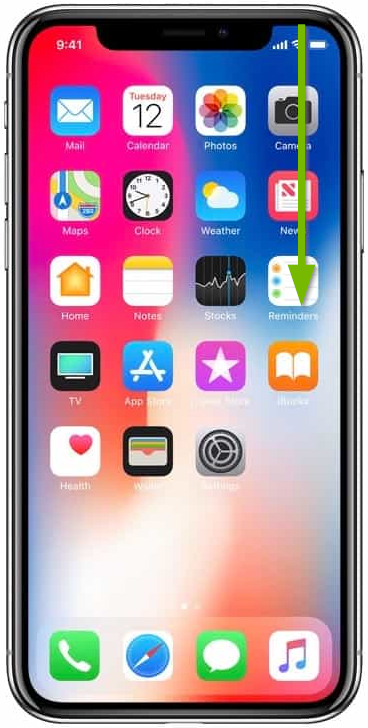iPhone X with highlights indicating swiping from the upper-right corner.
