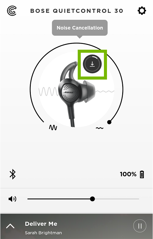 Bose Connect App screen with download update button highlighted.