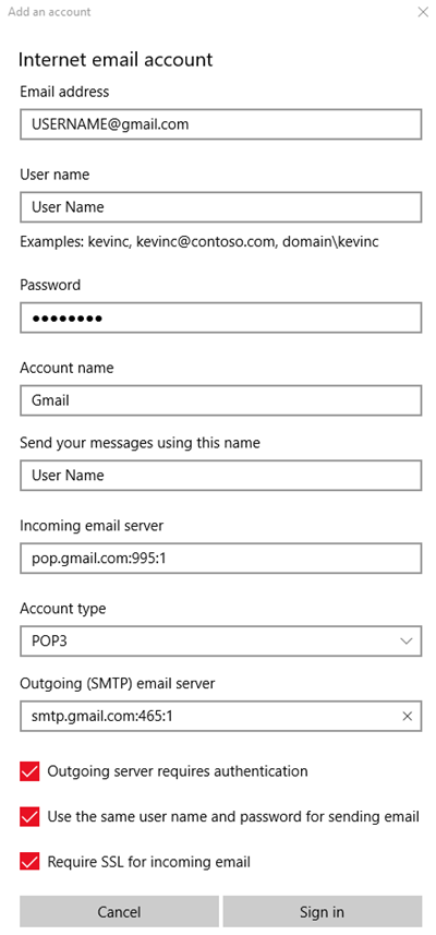 Windows mail showing gmail settings