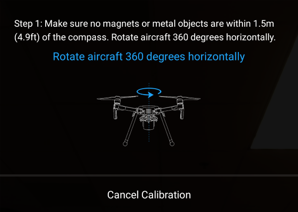 DJI drone compass calibration instructions shown in the DJI GO 4 app.