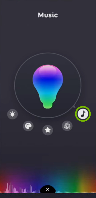 Musical Note icon highlighted for selected bulb in EufyHome app.