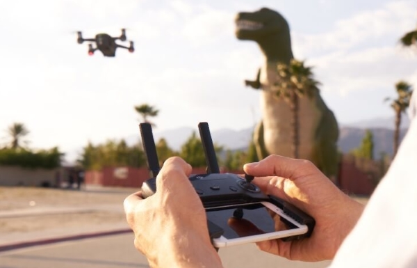 Remote control being used to fly the Spark drone.