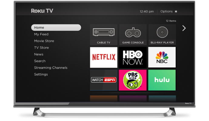 Roku TV home screen on a television.