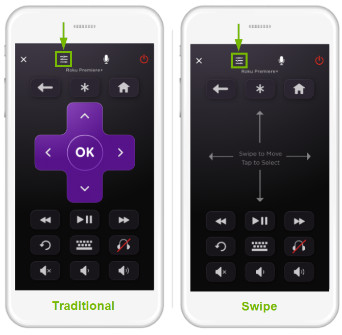 Layouts of Roku mobile app remote control modes.