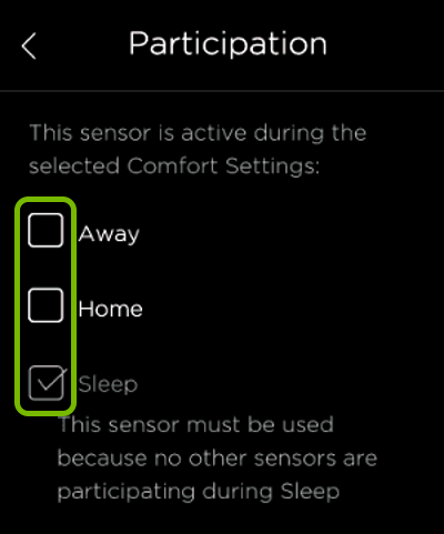 Checkboxes highlighted in ecobee sensor Participation settings.