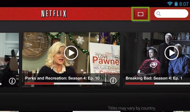 Netflix app highlighting the cast icon.