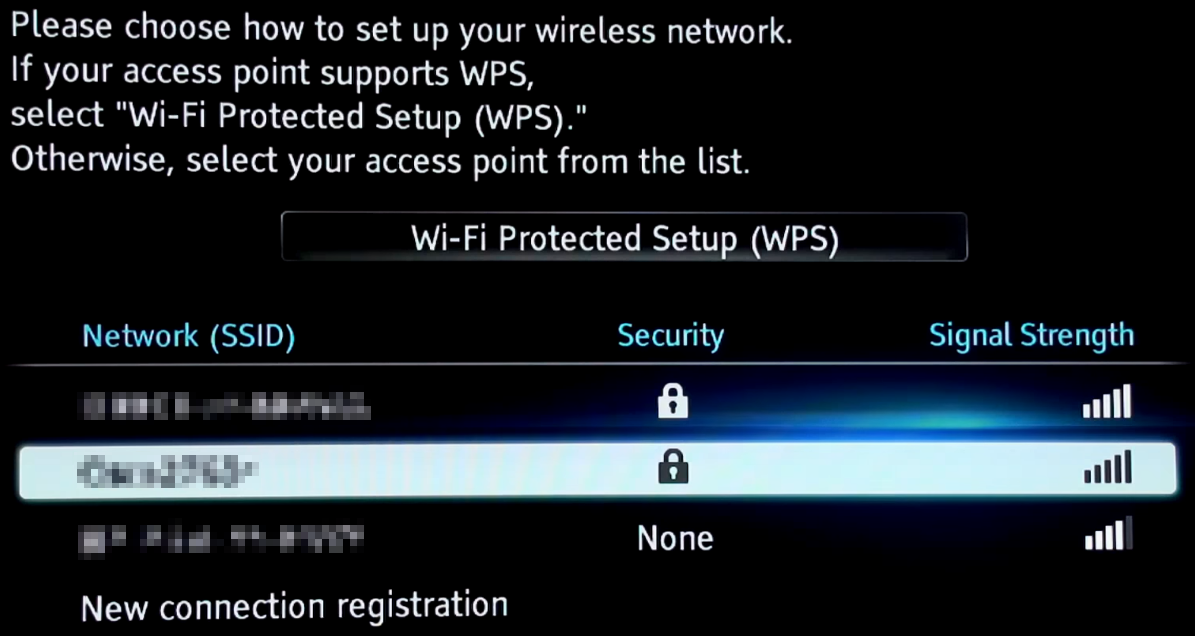 Wi-Fi network selection screen