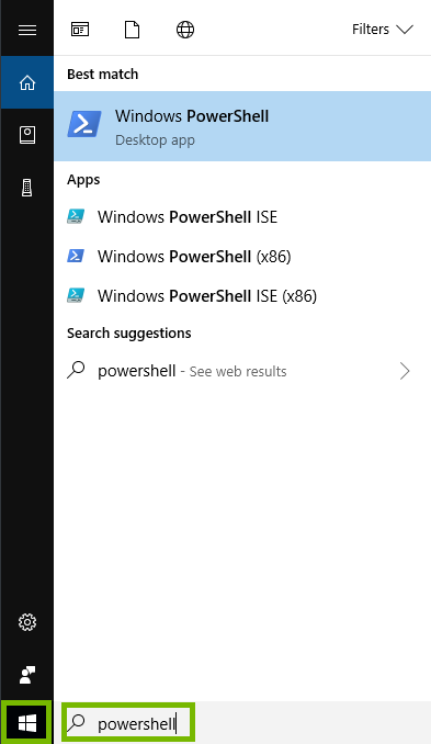 Windows start menu searching for powershell.