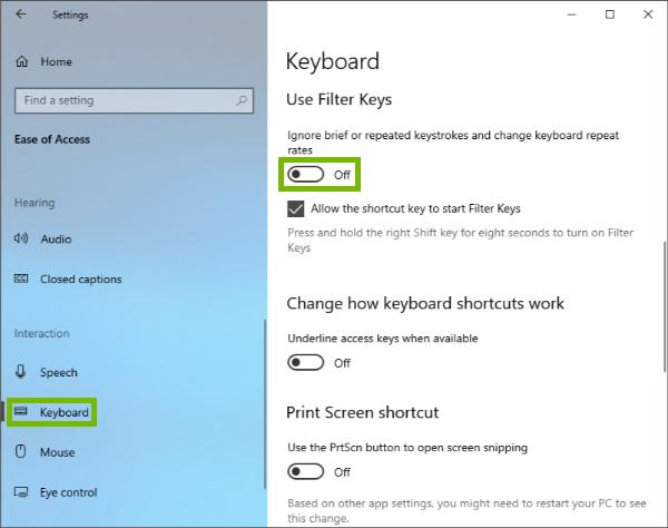 Keyboard menu and Filter Keys toggle