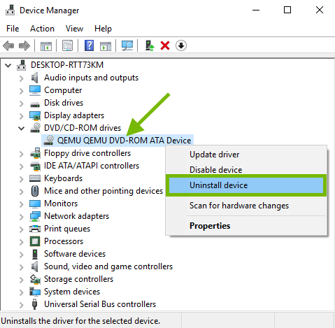 Disc drive pointed out in Windows device manager and Uninstall option highlighted in context menu.