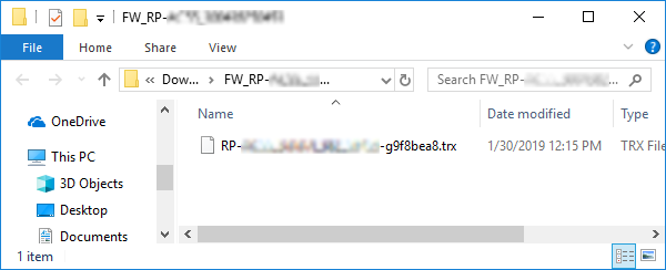 Extracted file displayed in Explorer.