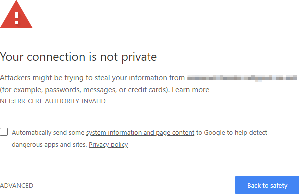 Chrome security warning.