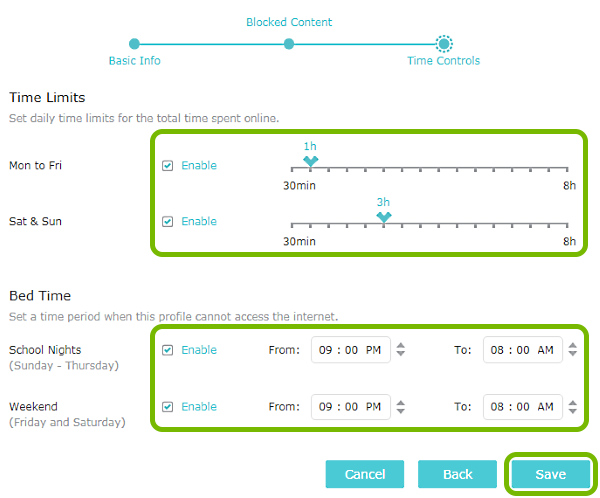 Time controls customization options and Save button highlighted on Parental Controls screen of TP-Link router web interface.