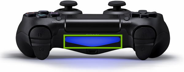 Top of DualShock 4 Controller with light highlighted.