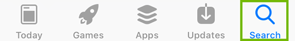 App Store Search Button.