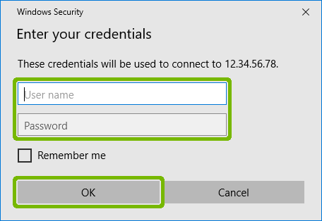Credentials entry with Username Password and OK button highlighted.