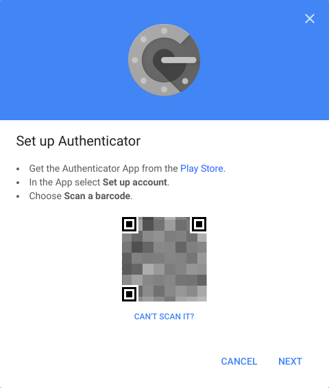 Setup Authenticator with QR code displayed.