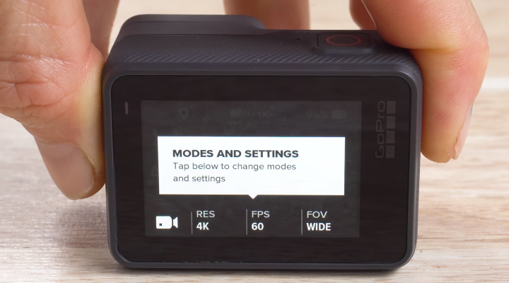 GoPro HERO6 camera tour screen with Modes and settings.
