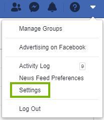 Settings on facebook