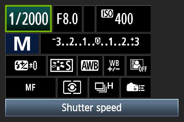 Digital camera shutter speed setting.