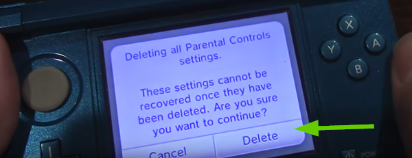 Deleting parental settings