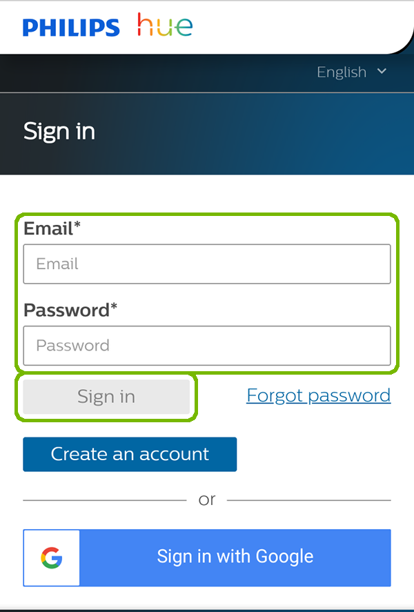Philips Hue account sign in with email, password, and sign in button highlighted.