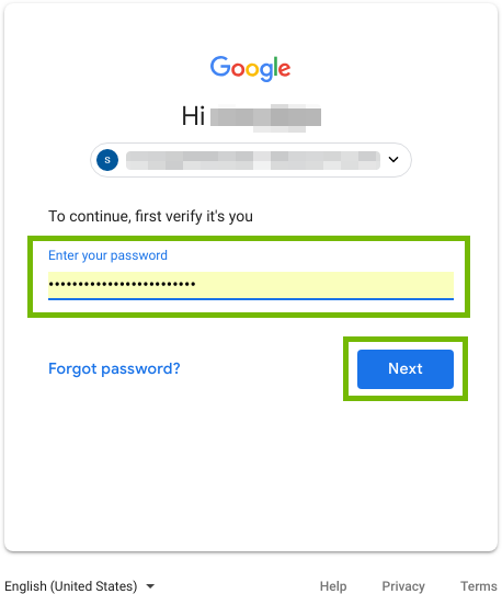 Password entry and Next button highlighted.