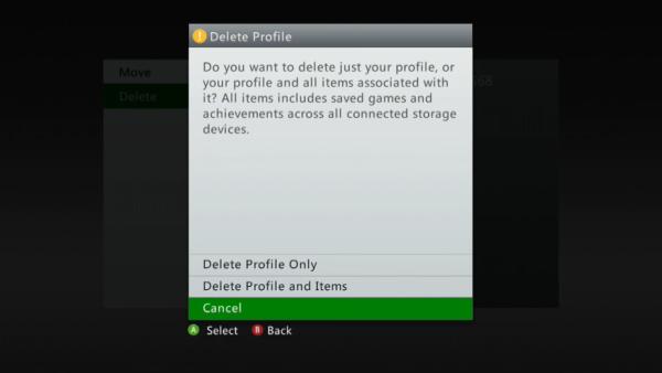 Profile delete prompt on Xbox 360.