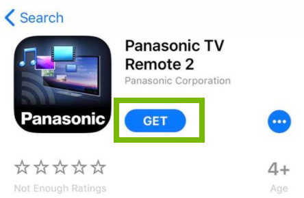 Panasonic TV Remote 2 app page with GET button highlighted