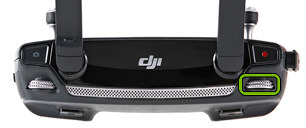 Gimbal dial highlighted on left shoulder of remote control.
