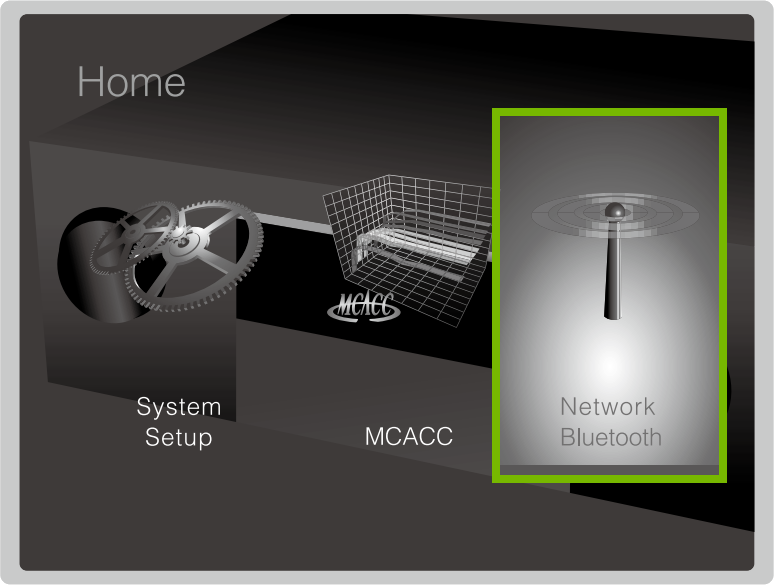 Network/Bluetooth option highlighted in Home menu.