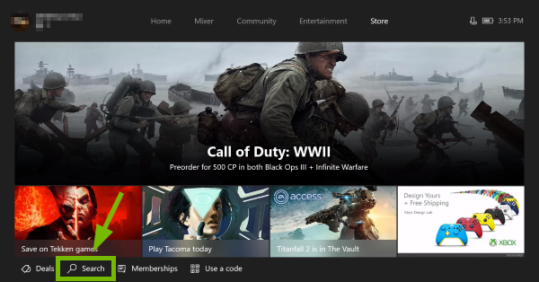 Search option highlighted in Xbox One Store.