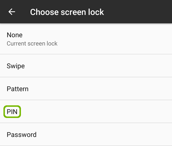 Choose screen lock with PIN highlighted.
