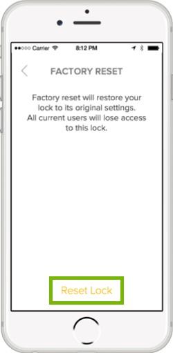 factory reset conformation with reset lock highlighted