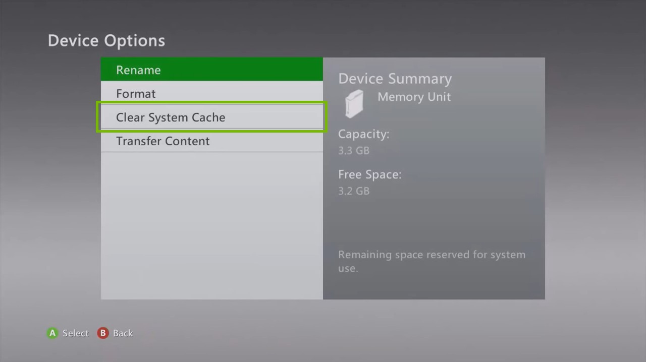 Xbox 360 Device Options screen highlighting the Clear System Cache option.