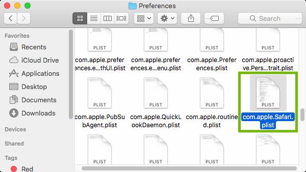 Preferences folder with com.apple.Safari.plist highlighted.